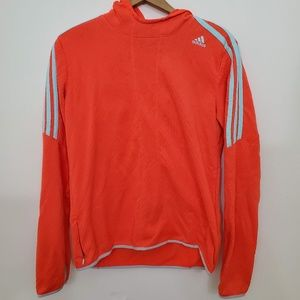 Orange and Blue Adidas Long Sleeve Hooded Pullover